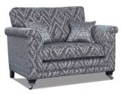 Fabric 8155 with small scatter cushions in 8015 and Ebony Chrome Castor (FM2) legs