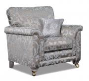 Fabric 8973 with small scatter cushion in 8027 and Smokey Oak Satin Brass Castor (FM1) legs