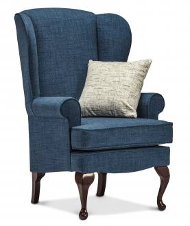 Highland Blue with Mahogany leg and Kimberley Silver scatter cushion