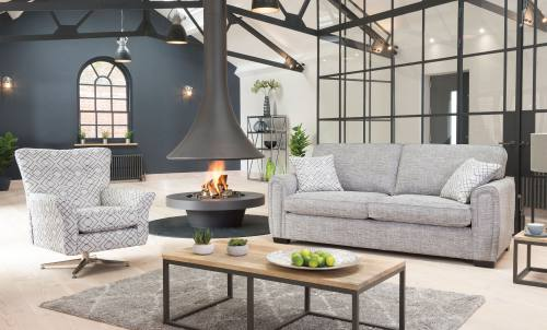 Alstons Memphis Grand Standard Back sofa with Swivel chair