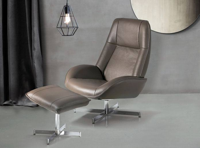 Kebe Roma Swivel Chair pictured in Choco Leather with matching footrest
