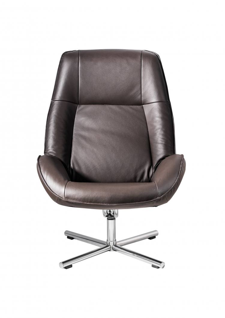 Kebe Roma Swivel Chair Soft Tube Chrome Front View