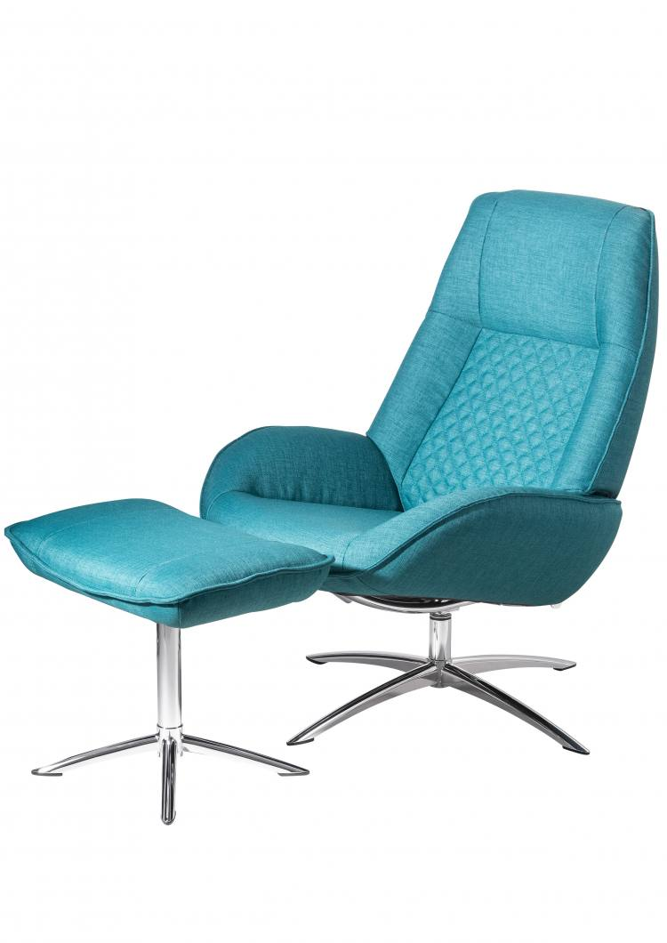 Kebe Bordeaux Swivel Chair with Footrest in Lido Petrol Side View