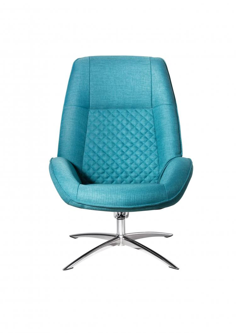 Kebe Bordeaux Swivel Chair in Lido Petrol Front View