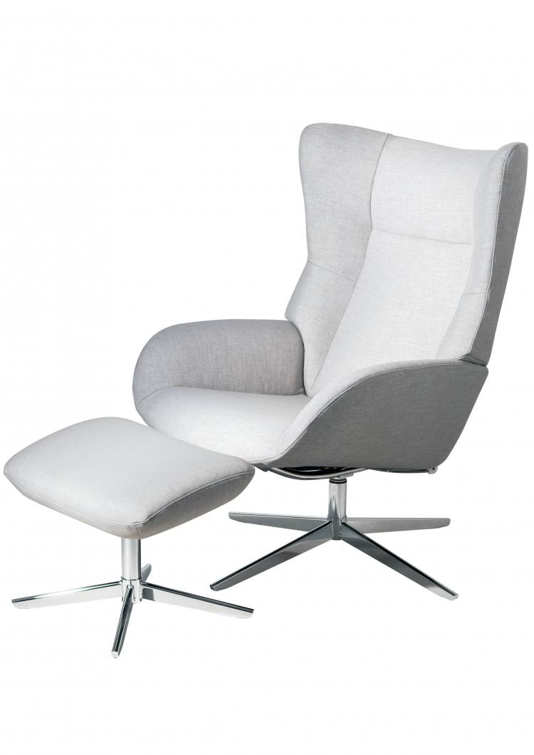 Kebe Fox Swivel Chair with Footrest in Lido Light Grey