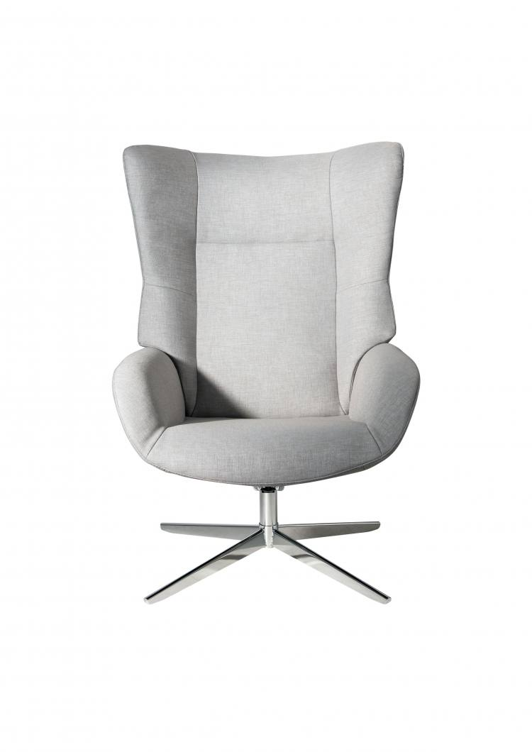 Kebe Fox Swivel Chair in Lid Light Grey Front View