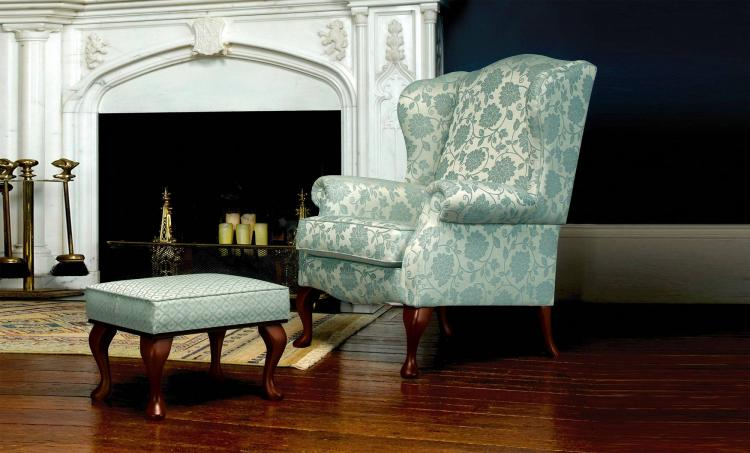 Woburn Floral Blue with matching stool and Dark Beech legs