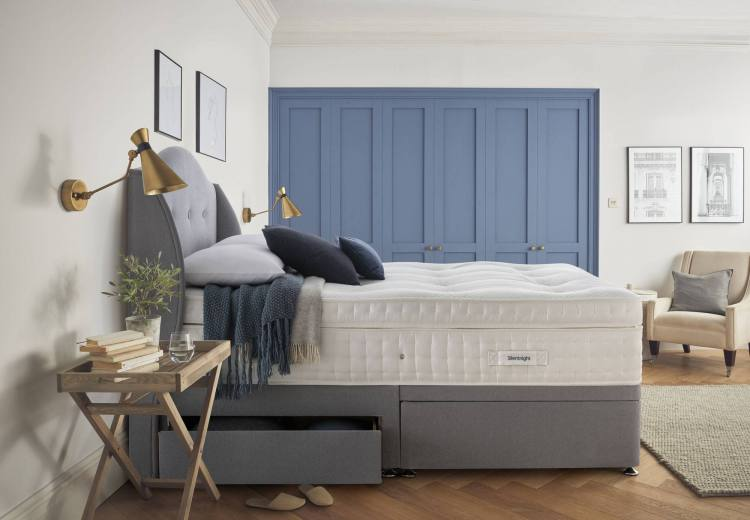 Silentnight Imperial Geltex 3000 Pocket Divan Bed pictured on Platform Top base in Steel fabric with 2 drawers and half ottoman storage and matching Camden headboard (sold separately)