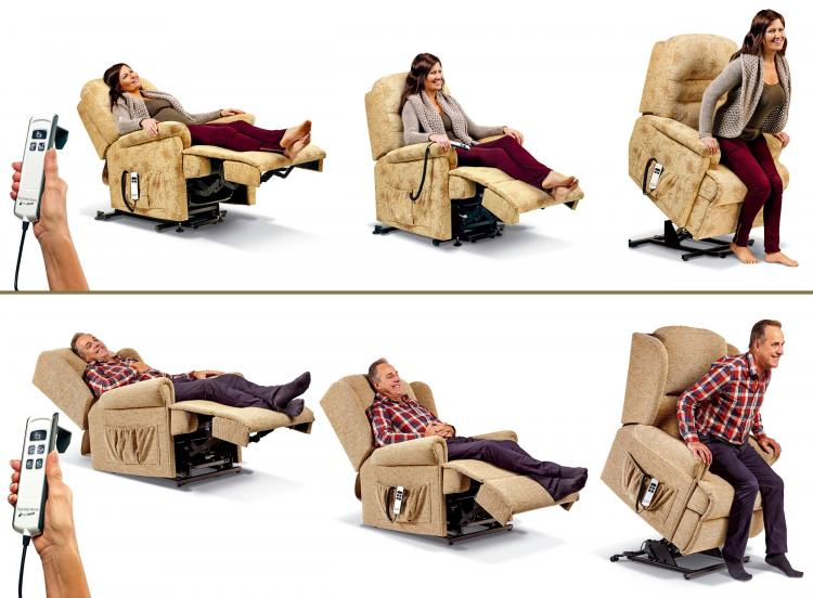 Single and Dual Motor positions. On the Dual Motor version (bottom) the backrest and footrest adjust independently and the chair reclines further