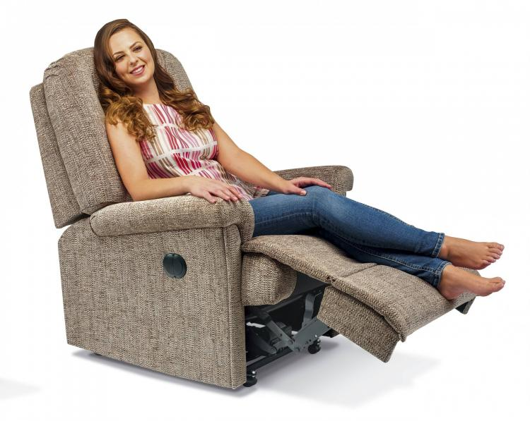 Power Recliner in Como Clay with castors option