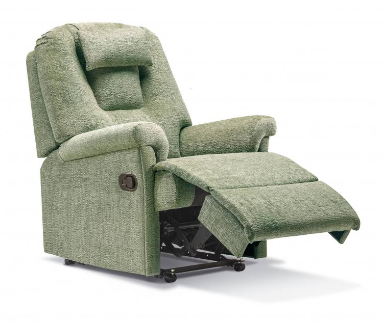 Recliner in Como Avocado with optional matching head cushion, manual catch & castors options