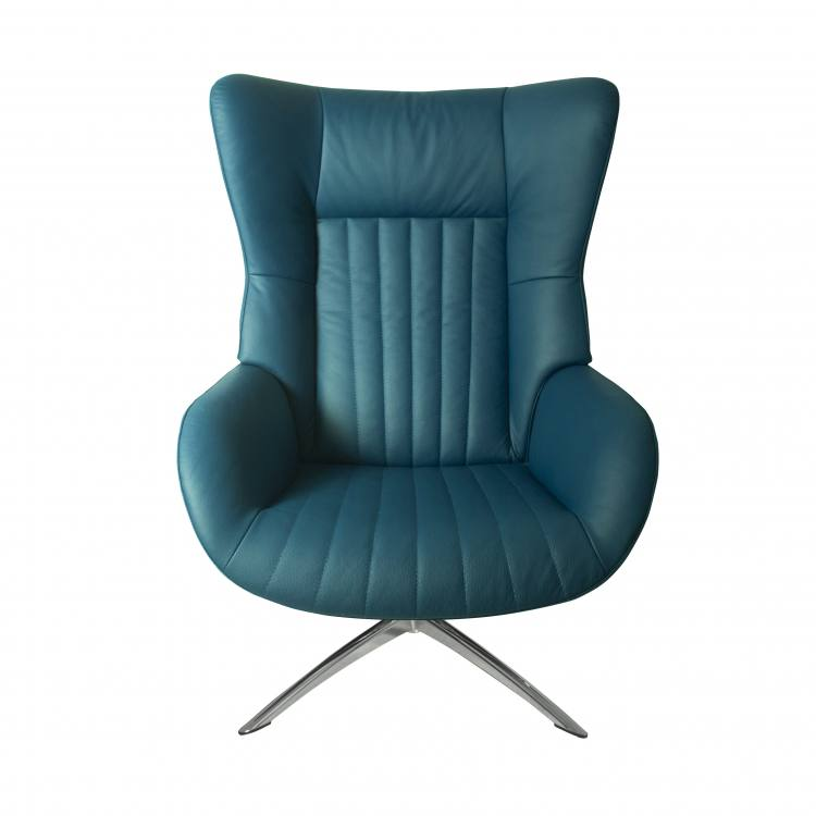 Kebe Firana Swivel Chair in Petrol Leather Front View