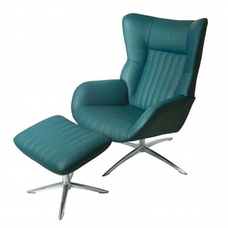 Kebe Firana Swivel Chair with Footrest in Petrol Leather