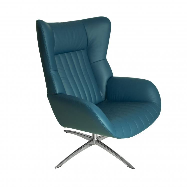 Kebe Firana Swivel Chair in Petrol Leather Side View